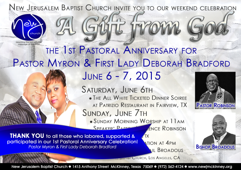 Myron & First Lady Bradford Anniversary | New Jerusalem Baptist Church ...