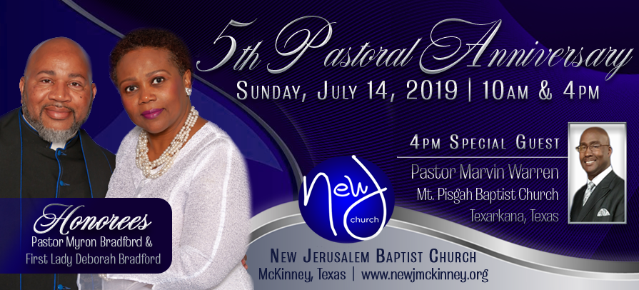 5th Pastoral Anniversary for Pastor Myron Bradford and First Lady Deborah Bradford at New Jerusalem Baptist Church in McKinney, Texas